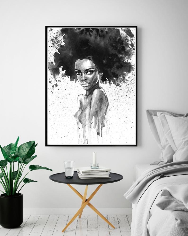 Beautiful Black Woman Wall Art African Black Woman Print Etsy Living Room Prints Bedroom Art Bedroom Wall Art