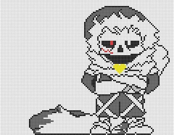 Sans Pixel Art Grid Minecraft