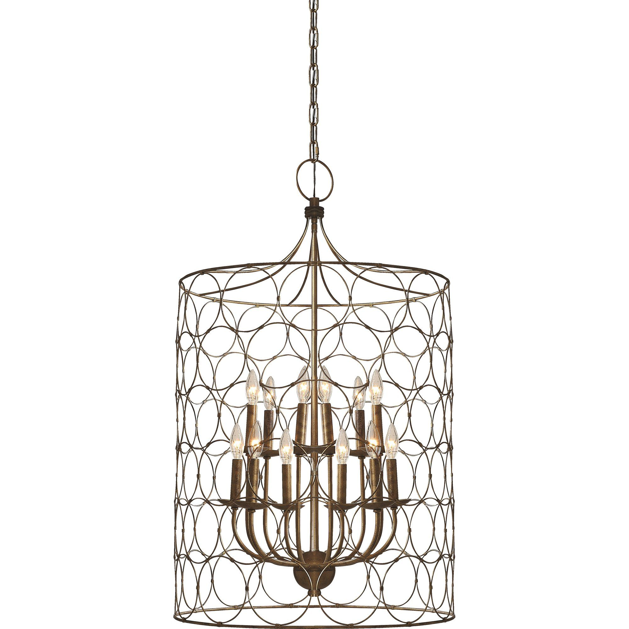 Flores 12 Light Candle Style Drum Chandelier Candle Style Chandelier Drum Chandelier Caged Lamp
