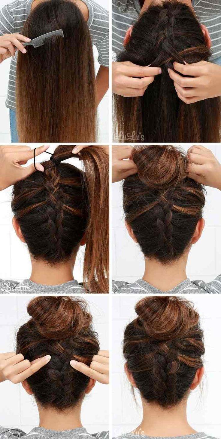 tutorial-Haar-lange Haar-Zopf-Idee-chigon - Damenmode #coiffurecheveuxmilong