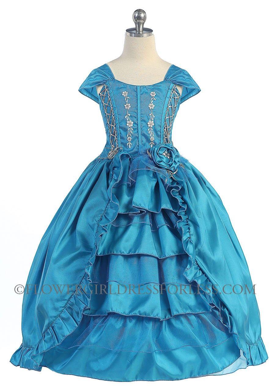 Girls Dress Style NP6507- TURQUOISE TAFFETA CAP SLEEVE MULTI LAYER DRESS