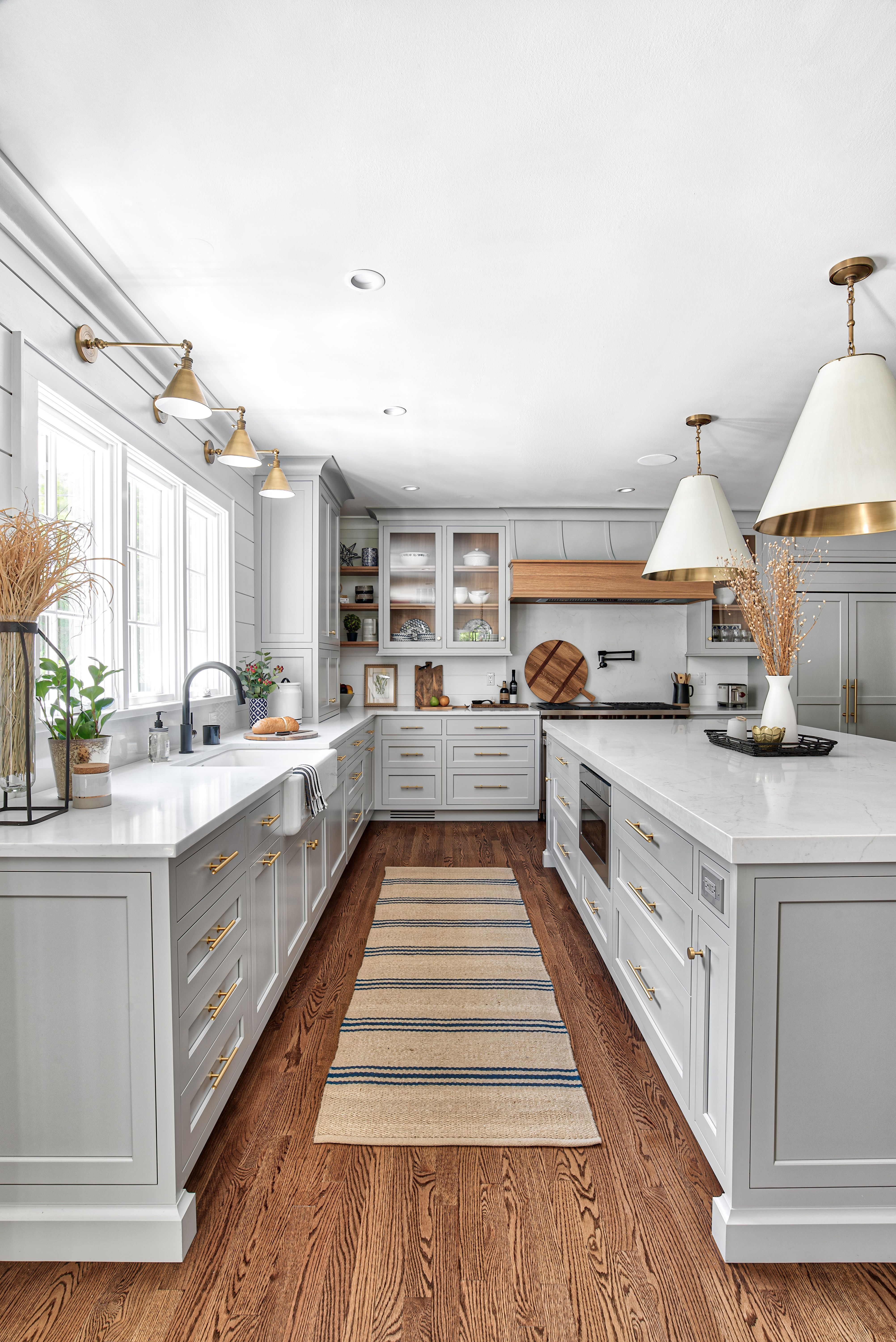 Gray Cabinetry & Brass Hardware