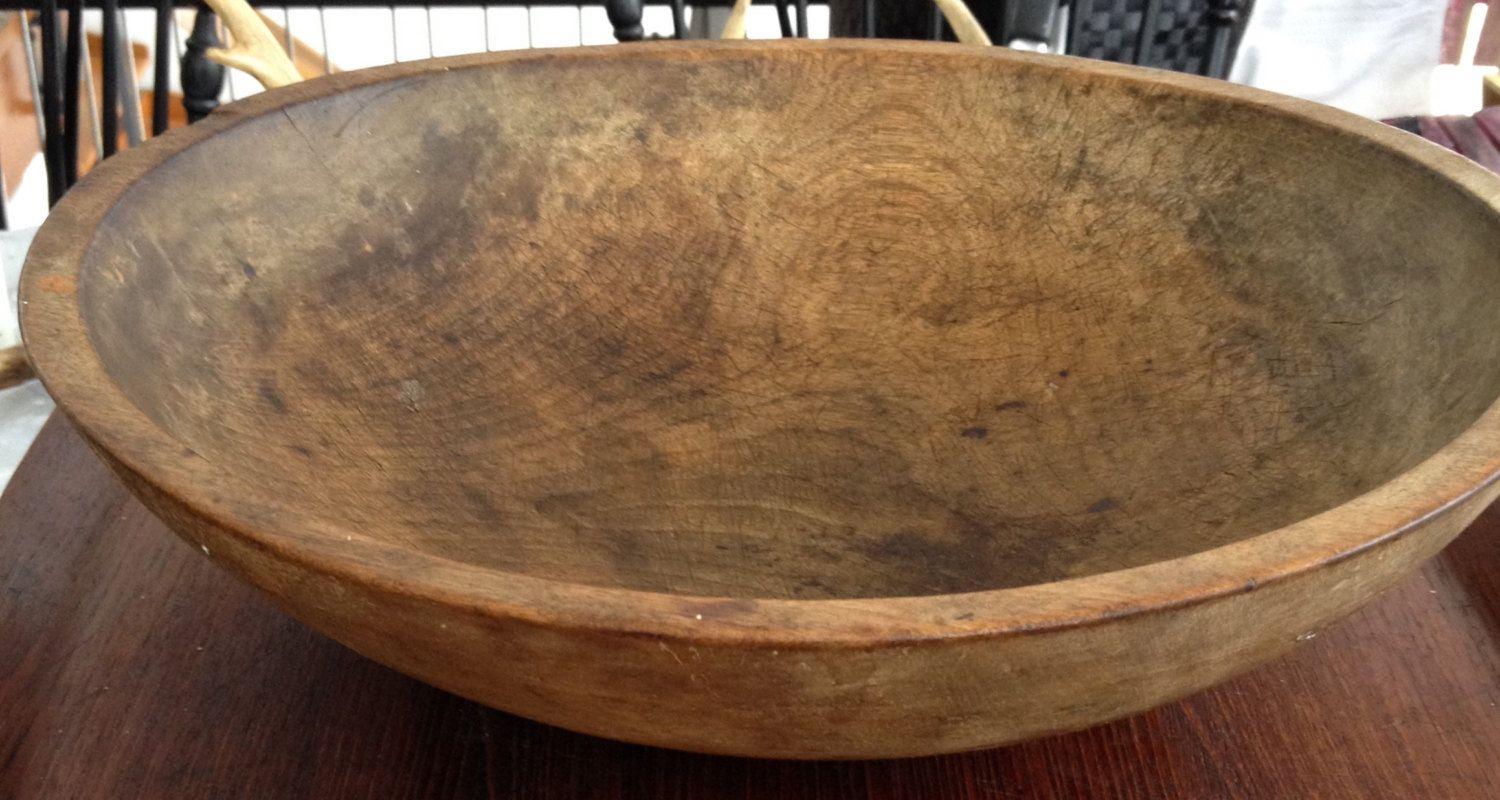 Antique Hand Turned Wooden Dough Bowl Dough Bowl And Bowls