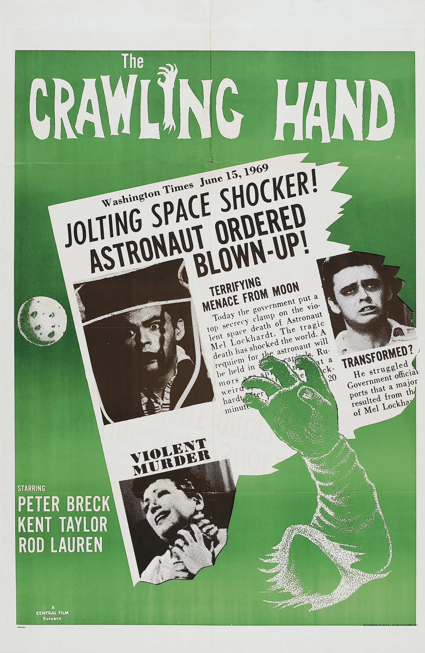 Starring some familiar faces like Alan Hale, the Skipper from Gilligan's Island, and Peter Breck from The Big Valley, is this 1963 B movie called The Crawling Hand.  When the hand of a dead astronaut washes up on the beach, it possesses the college student who takes it home. The student is slowly transformed by the hand and begins killing people in a small town.