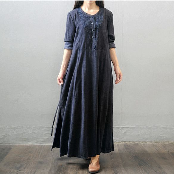 d3823df726b BUYKUD-Women winter and autumn cotton linen long sleeve loose dress - Buykud-  1