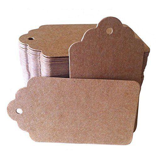 Coupe sans Étiquettes étiquettes en papier kraft brun Étiquettes de cadeau de Noël avec cordes ...