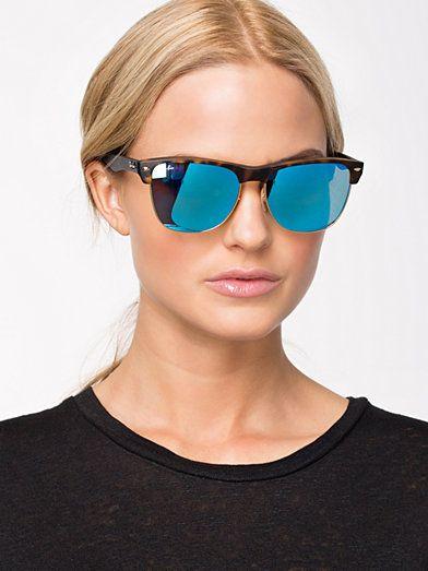 c63d231815 4175 Clubmaster - Ray Ban - Matte Havanna Mirror Blue - Sunglasses -  Accessories - Women - Nelly.com