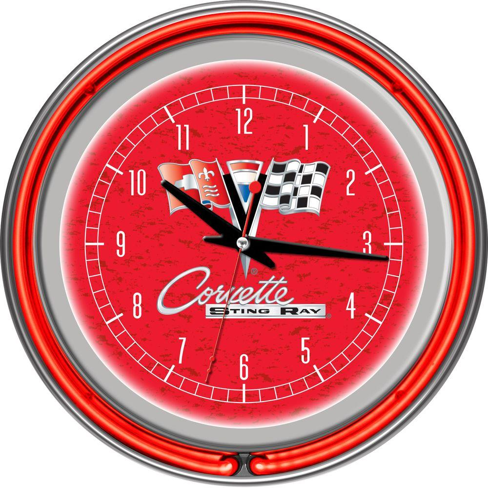 Trademark Global 14 In Corvette C2 Red Chrome Double Ring Neon Wall Clock Gm1400r C2 Cor The Home Depot Corvette C2 Neon Clock White Corvette