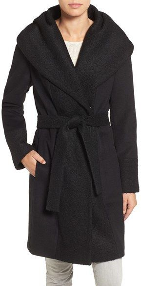 Calvin Klein Boucle Trim Hooded Wrap Coat