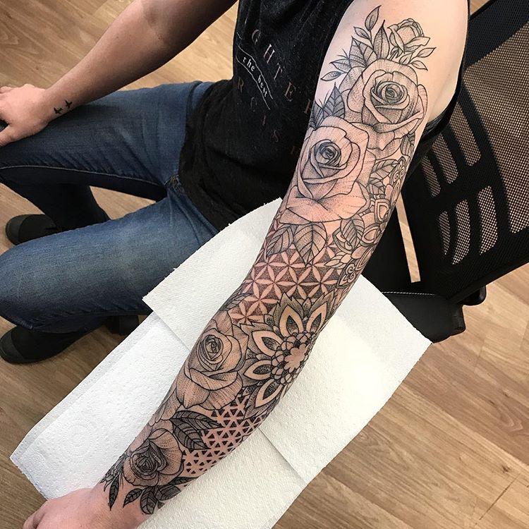 Geometric Inspiration Inkstinct Floral tattoo sleeve