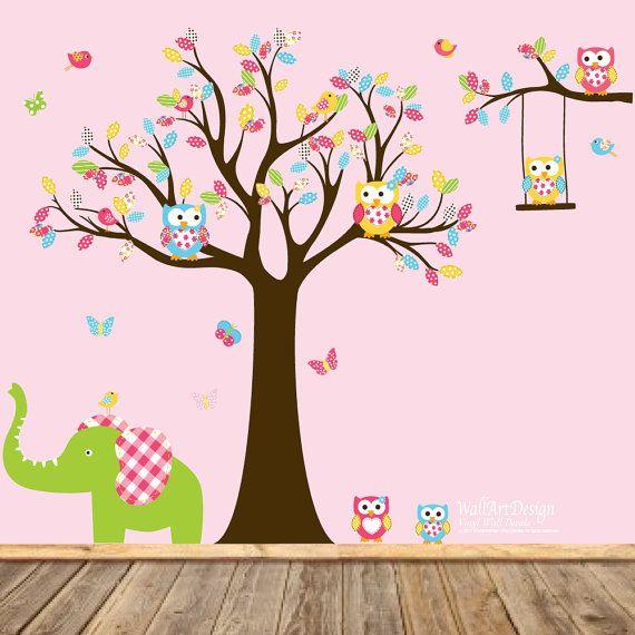 Vivero búho árbol de la etiqueta con elefante de por wallartdesign ...