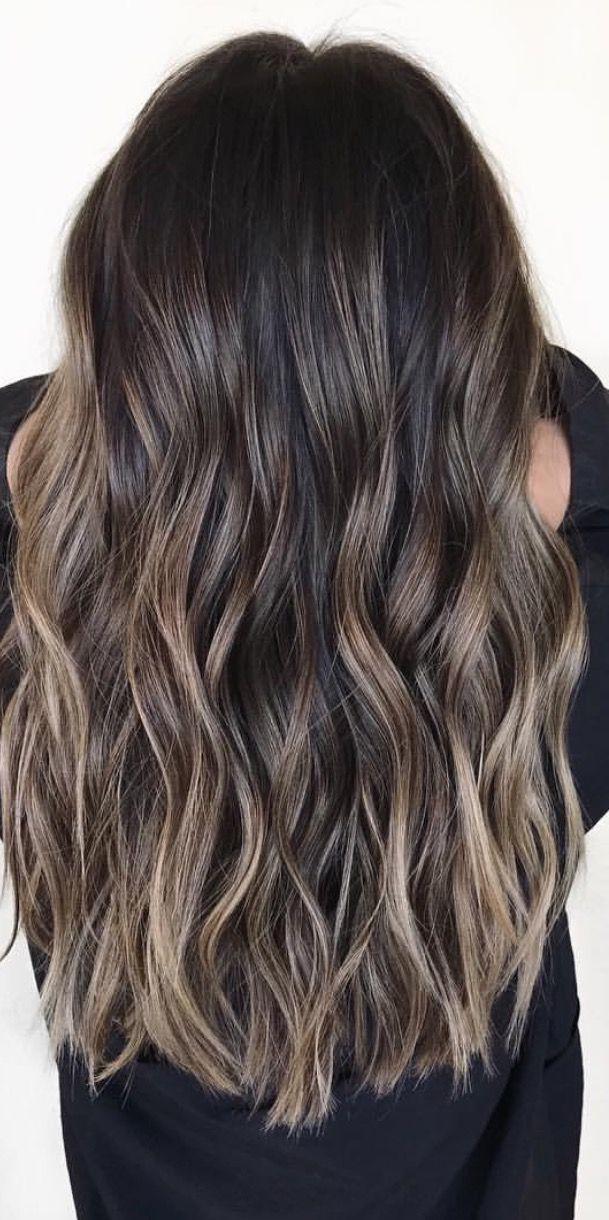 Brown Hair With Ash Toned Highlights Tomybsalon Com Long Hair Color Brown Hair Balayage Brown Hair Shades