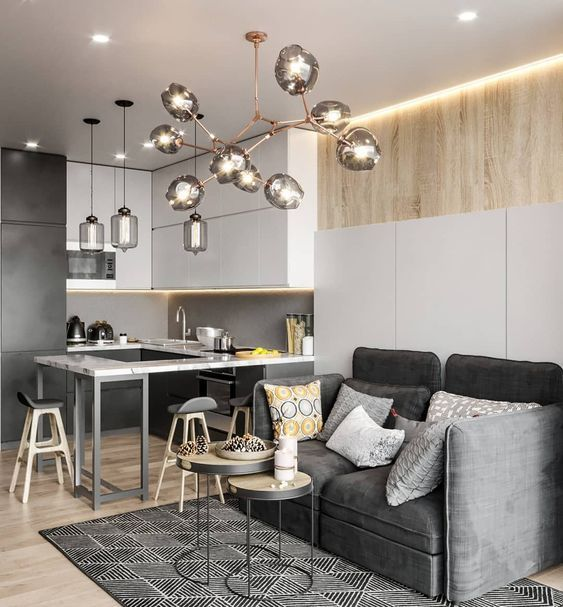 Кухня-гостиная 16.5 кв.м. в Истре 👌 | Интерьер, Дизайн ...