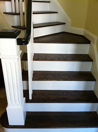 Staircase With Grain Popped DuraSeal Jacobean Stainwondering If Our Handrails Will Have This Same Painted Black Look I Like It