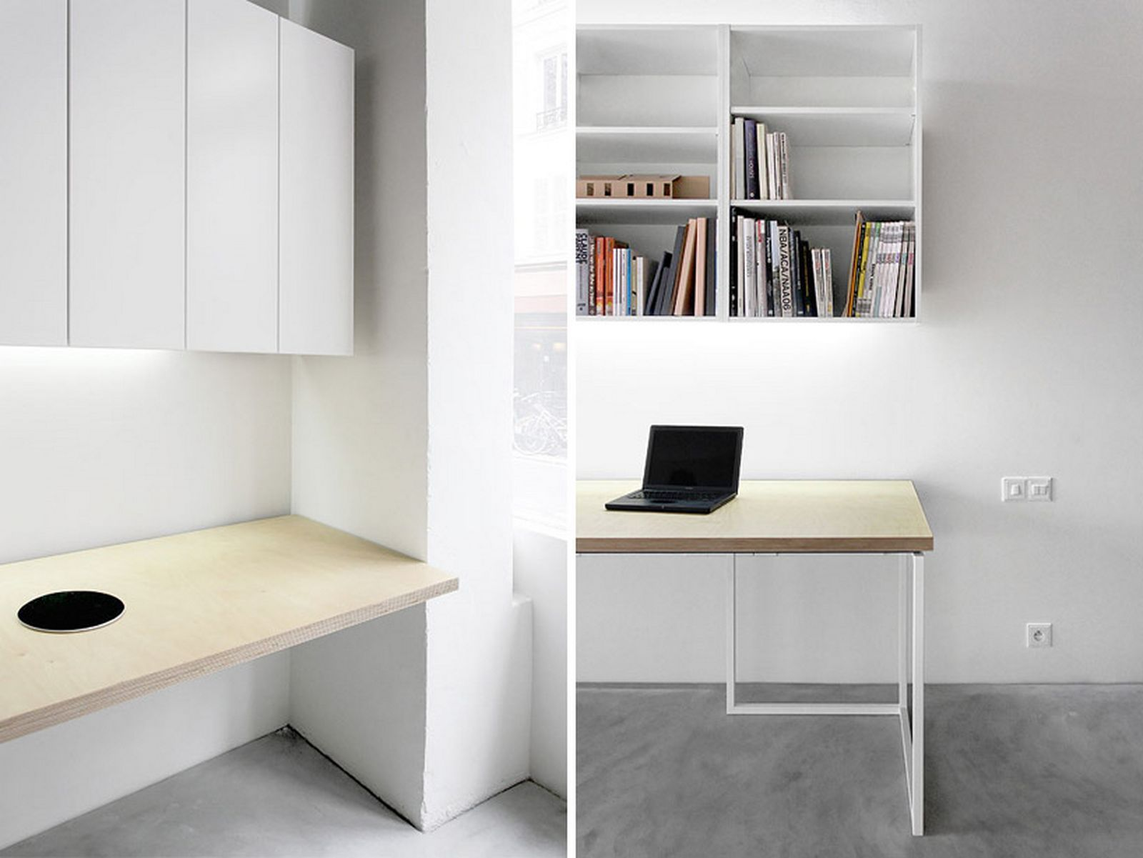 minimalist room for office desk design with simple white cabinets color and casual shelf and fullfiled books in under part and small black laptop and pale