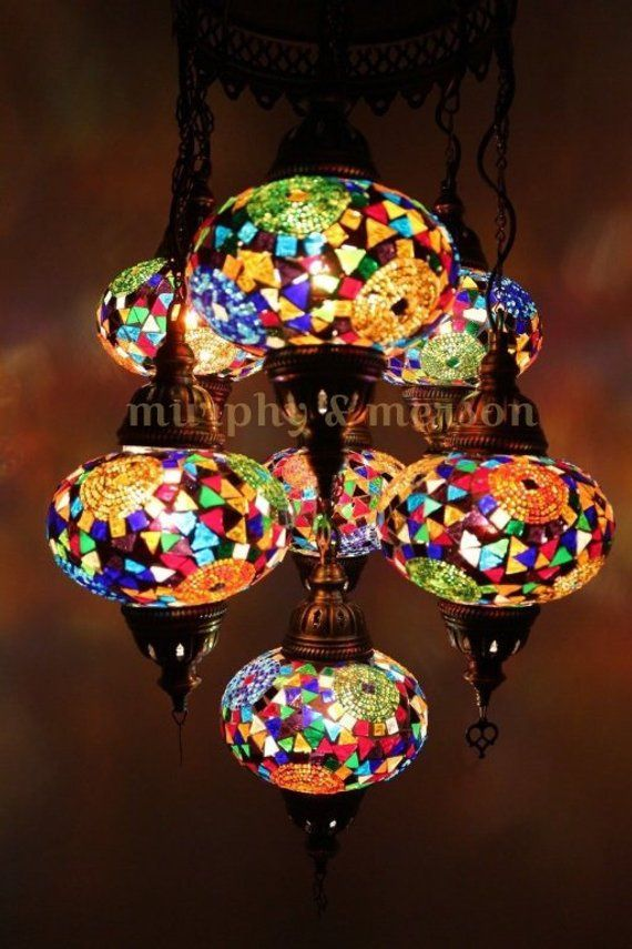 Turkish Mosaic Lamp 7 Globe Moroccan Style Chandeliers Hanging Tiffany Light Night Antique Pendant Lampshade Free Expedited Shipping Globe Ceiling Light Unique Lamps Hanging Lights