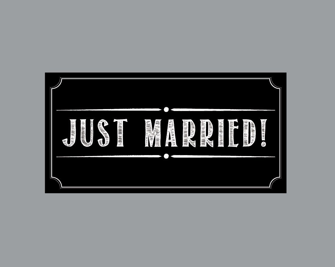 Just Married Wedding Car Magnets Magnet Vintage Antique Cottage Chic Rustic Chalkboard