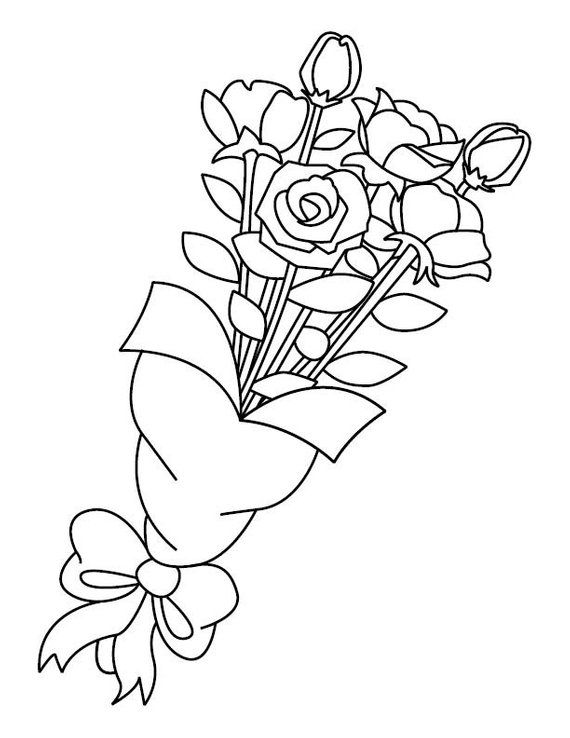 Rose Bouquet Coloring Page Etsy Rose Coloring Pages Coloring Pages Roses Drawing