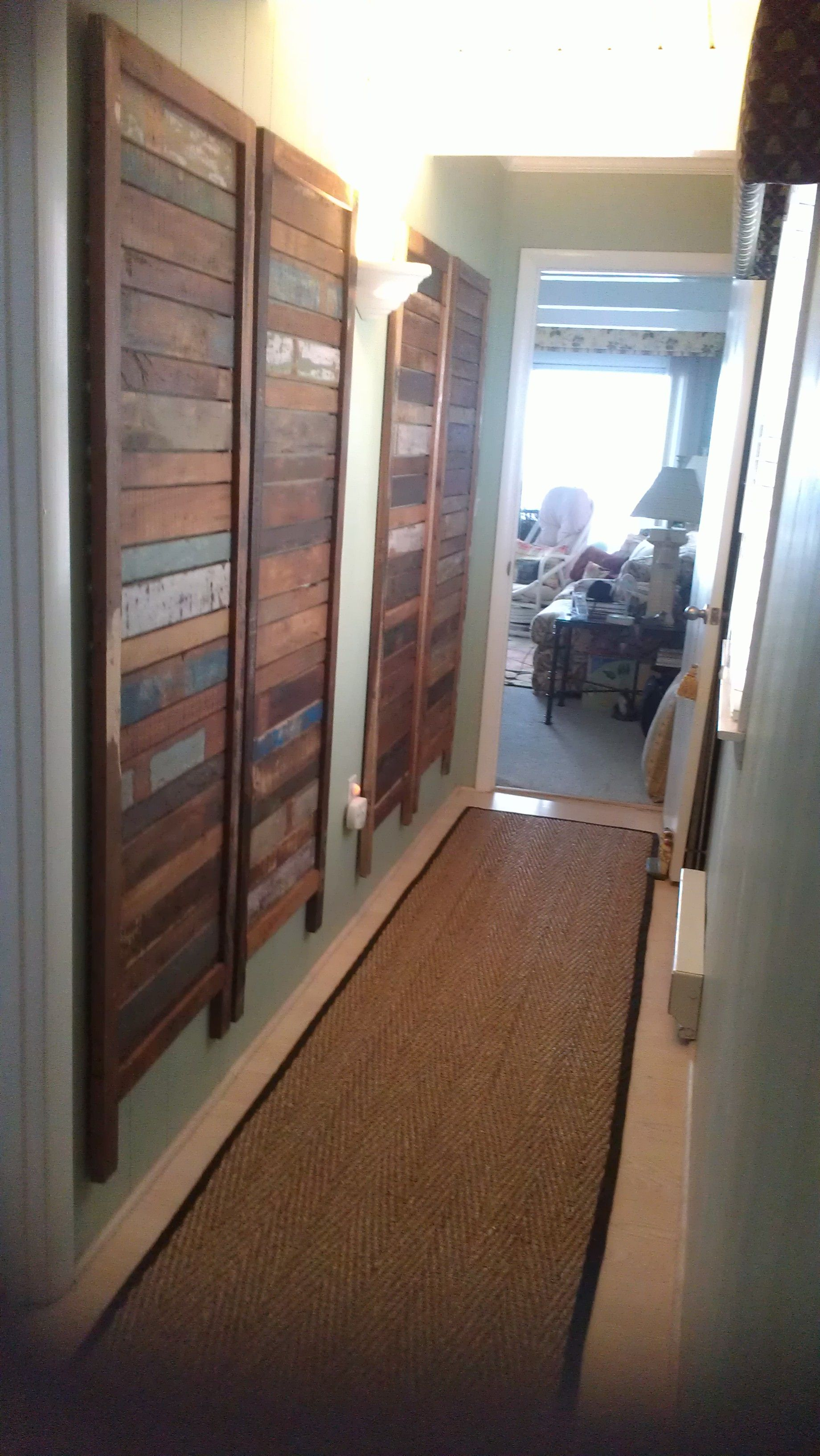 Hallway Dividers A Reclaimed Wood Room Divider Was Unassembled And Hung On Hallway
