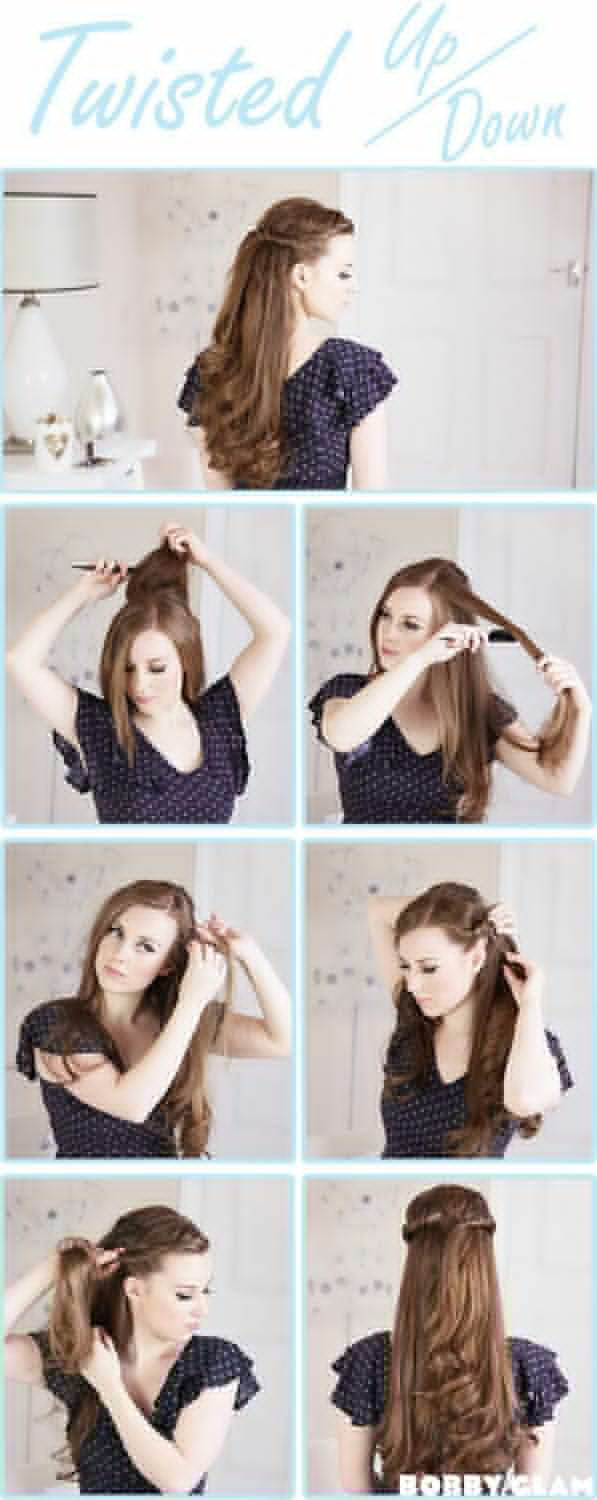 Hairstyle tutorials for long hair step by step hair updo by makeup
