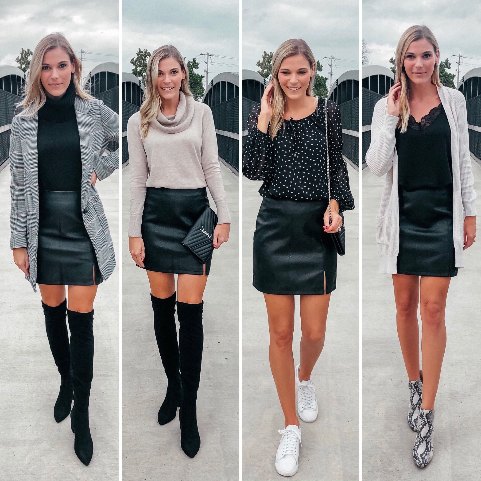 Styling a faux leather mini skirt 20 ways   Mini skirt outfit night ...