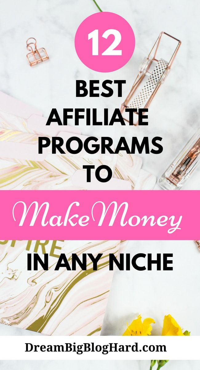 12 best affiliate programs for bloggers to make money in any niche. These programs are easy to get into and offers good commissions rate. #affiliatemarketing #makemoney #makemoneyblogging #dreanbigbloghard