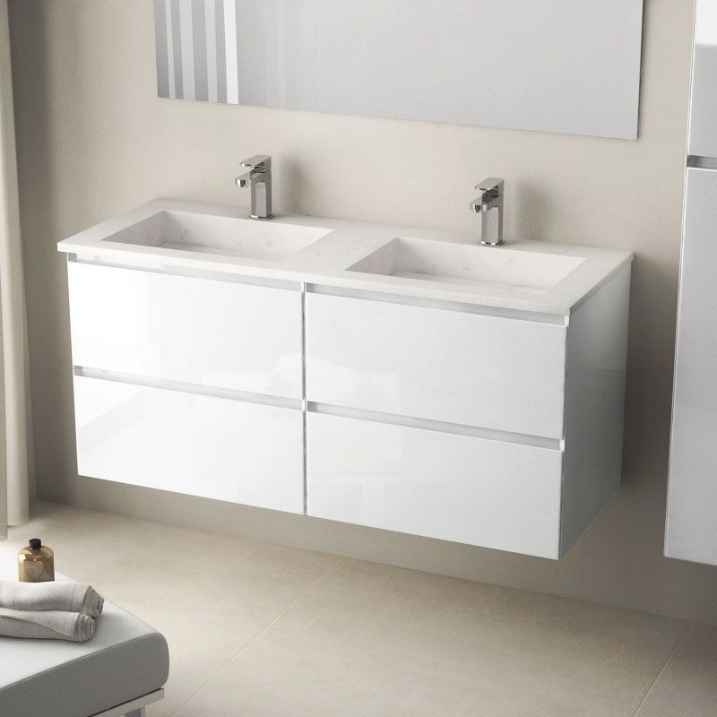 Meuble double vasque pierre 121 cm, blanc brillant, Cordoue ...
