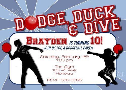 dodgeball digital birthday invitation you print