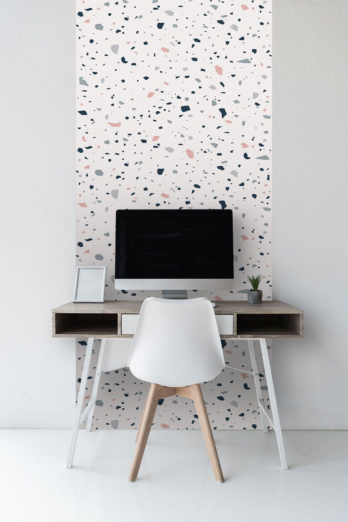 Sticker Wallpaper Easy Diy Apply Paper Free Peel And Stick Selfadhesive Textile Based Wallpaper Terrazzo Easy Diy Home Decor Glass Fridge