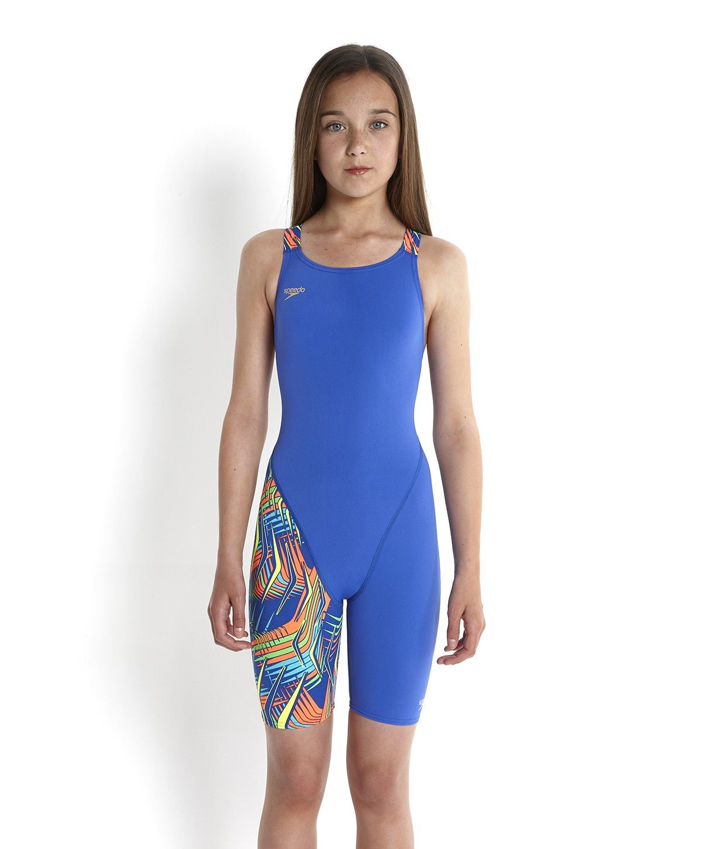 3c2c8fb562 Speedo Endurance Junior Open Back Kneeskin Blue front   Bikini ...