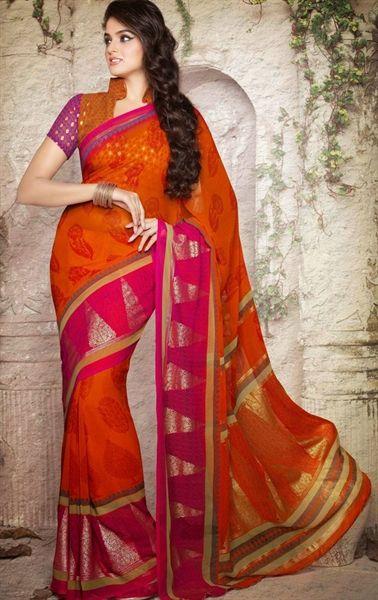 Picture of Dazzling Deep Orange Color Ideal Saree Casual Sarees