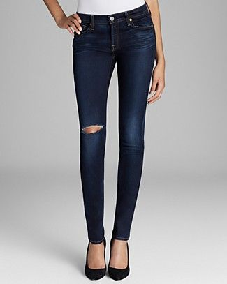 7 For All Mankind Jeans - The Skinny Slim Illusion in Merci Blue | Bloomingdale's
