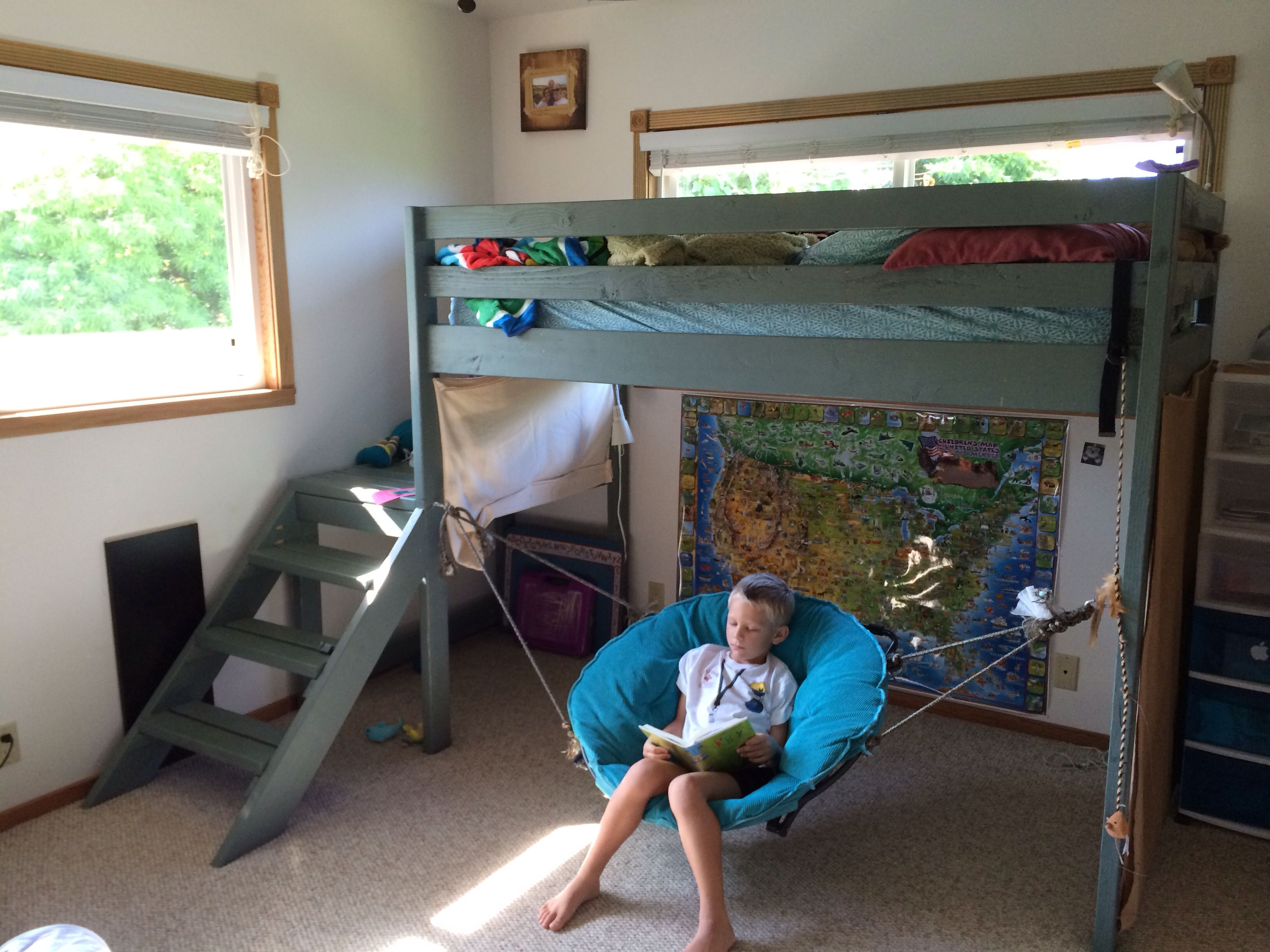 how to build a hanging loft bed
