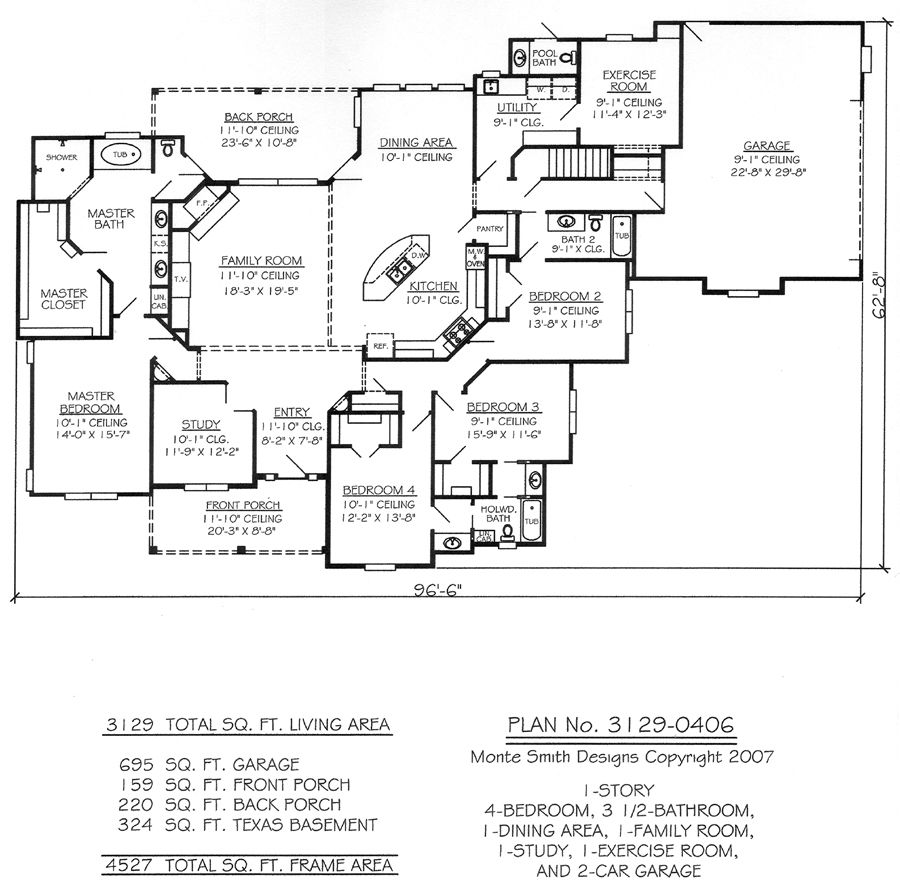 One Story Four Bedroom House Plans | Story, 4 Bedroom, 3.5 Bathroom, 1  Dining Room, 1 Exercise Room, 1 .