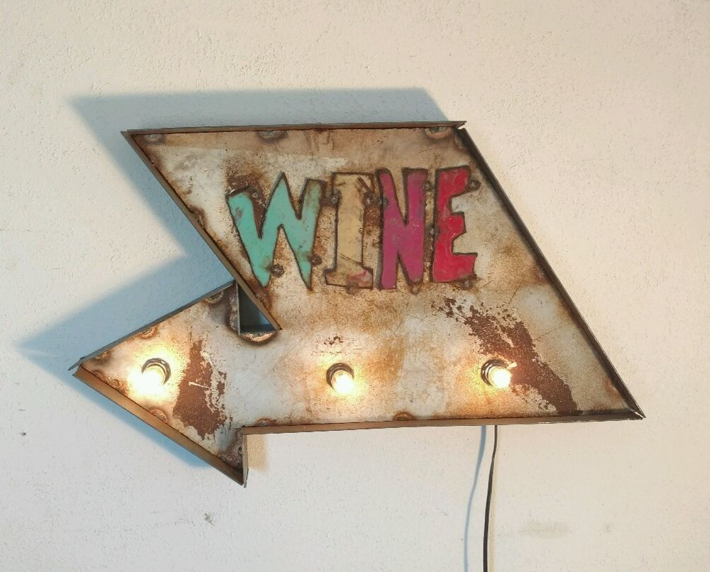 lighted metal marquee arrow vintage wine bar sign industrial