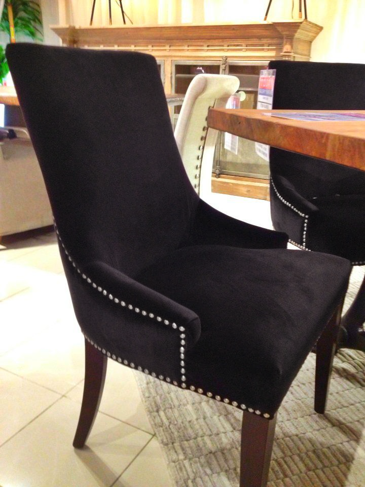 A beautiful black studded dining room chair houston tx for Dining room tables houston tx
