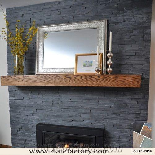 Black Slate Tile Fireplace Cultured Surround Culture Stone Veneer