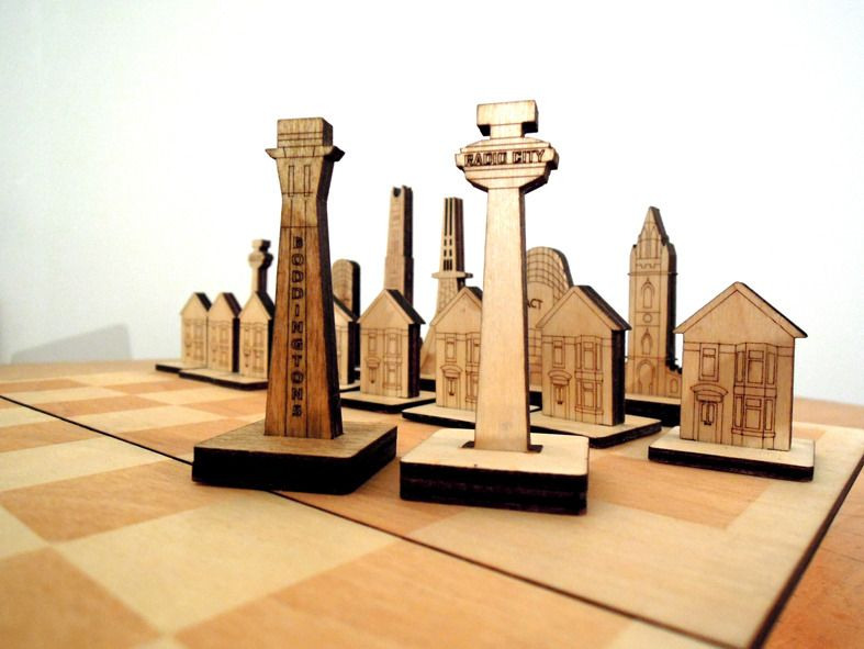 Image of Liverpool versus Manchester Chess Set -wow!