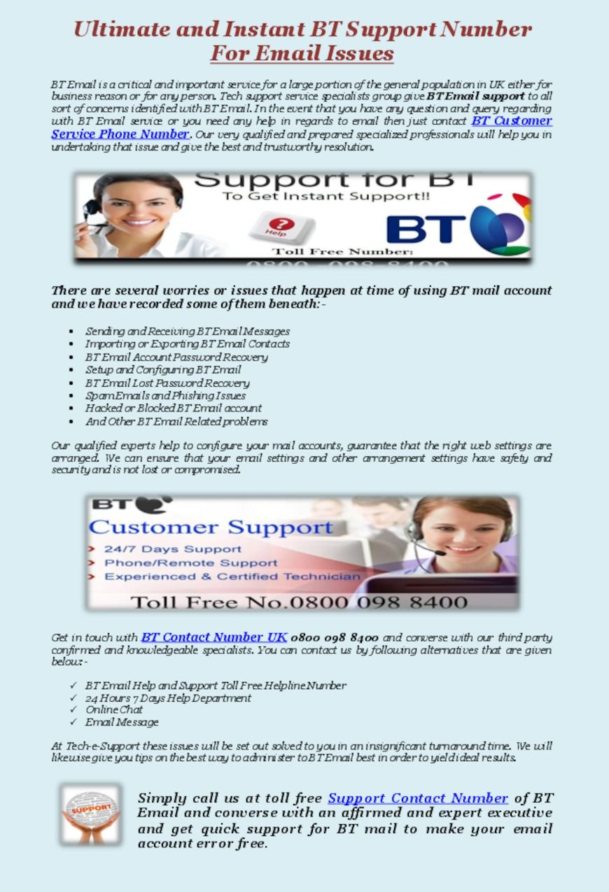 Contact Bt Customer Service Number For Technical Support Like Sending And Receiving Mail Errors Forgot