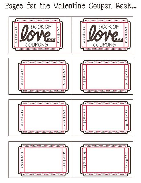 download pattern coupon book for valentines day ) The pages are - blank printable tickets