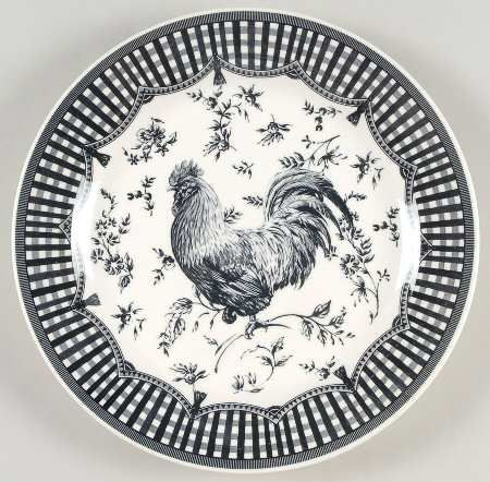 Queen S Rooster Black Dinner Plate Black And White Dishes Rooster Kitchen Decor Black Dinnerware