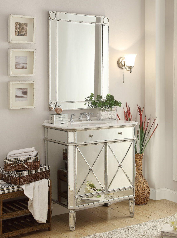 32 Inch Adelina Mirrored Silver Bathroom Vanity Mirror Bathroom Sink Vanity Vanity Sink Diy Vanity Mirror