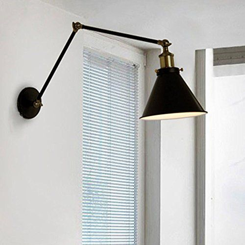 Lemonbest® Industrial Swing Arm Wall Sconce Shade Adjustable Handle Rustic  Loft Light Sconce Wall Lamp