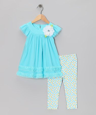 Take a look at this Blue Ruffle Dress & Polka Dot Leggings - Toddler & Girls by Sweet Heart Rose on #zulily today!