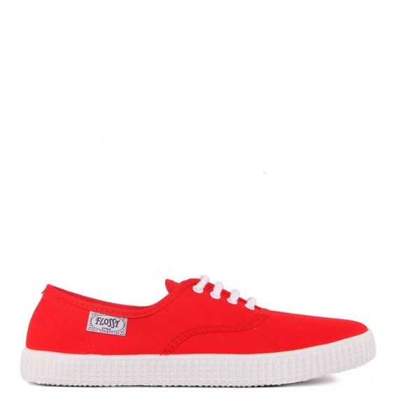 Flossy Womens Lace Up Red Canvas Plimsolls found on Polyvore