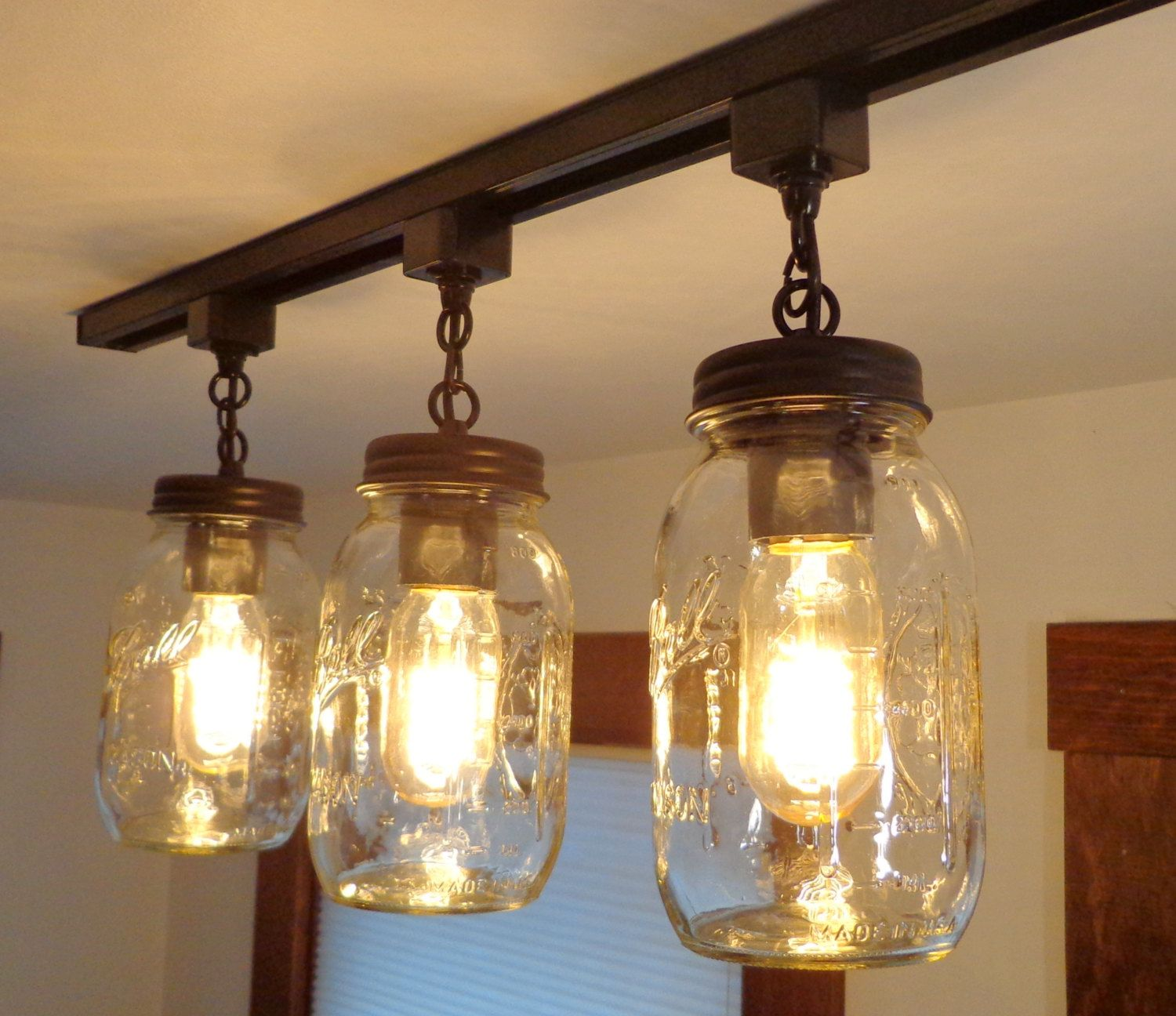 Track Lighting Mason Jar Light Trio New Quarts Chandelier Kitchen Island Country Remodel Update Flush Mount Ceiling Fixture By Lampgoods Jar Ceiling Light Jar Lights Mason Jar Lighting