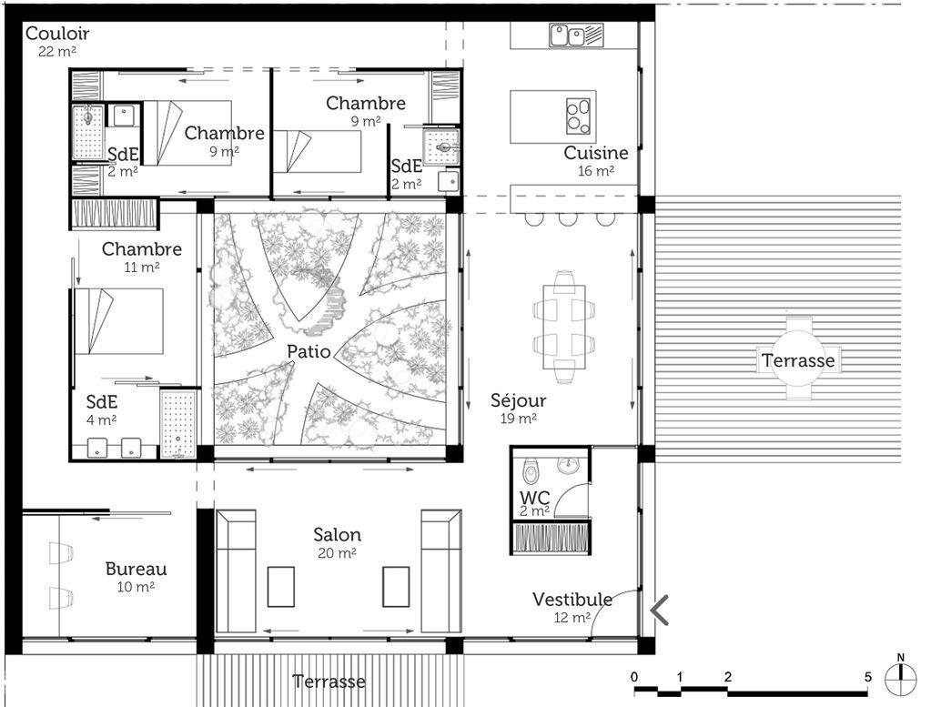 Plan Maison A Toit Plat Avec Patio Ooreka Architecture