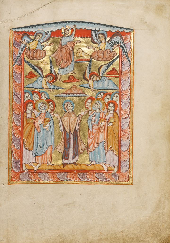 The Ascension Unknown Mainz Germany About 1025 1050 Tempera Colors And Gold On Parchment Ms Ludwig V 2 Fol 20 J Ottonian Getty Museum Medieval Art