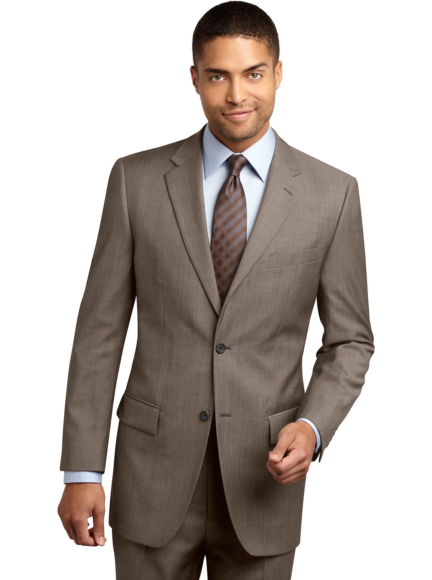 Suits Pronto Uomo Platinum Herringbone Traveller Suit
