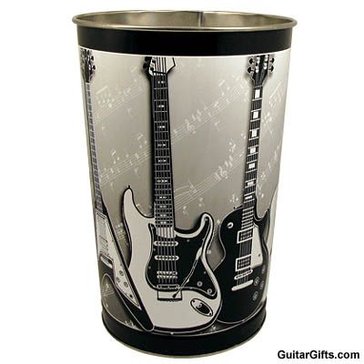 Guitar waste basket what a unique gift idea for the guitar player in your life this sturdy - Cool wastebaskets ...
